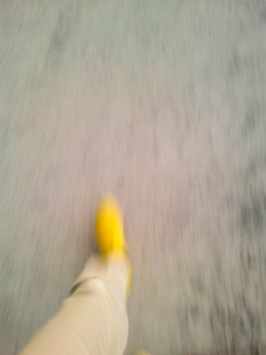 Yellow shoes, walking