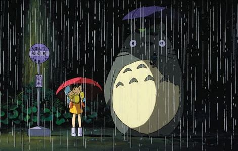 totoro, my neighbour totoro, rain scene, bus stop