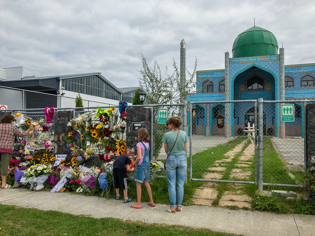 Flower tributes mosque Auckland New Zealand Christchurch shooting