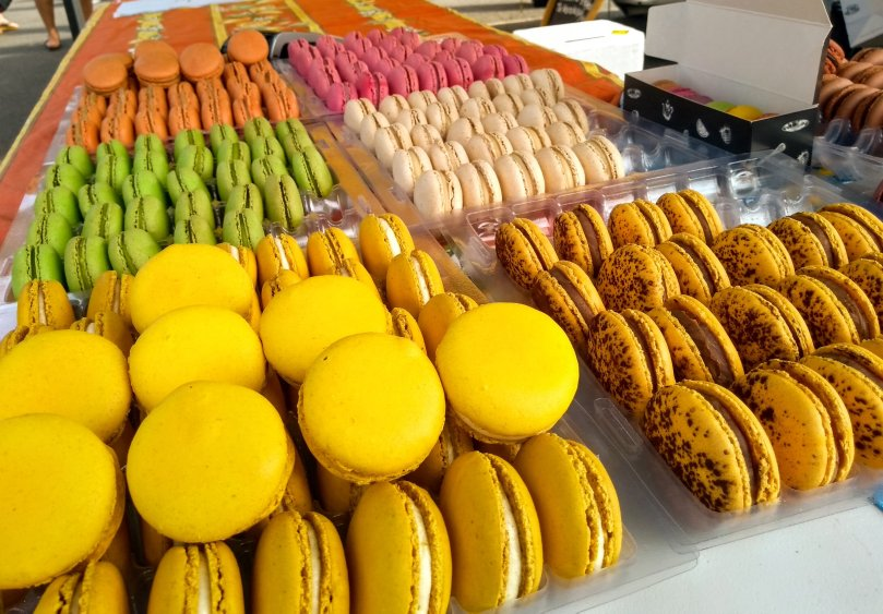 A variety of macarons in different flavours and colours
