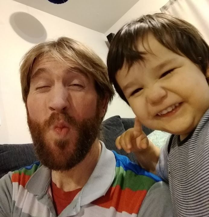 Selfie with bearded man and young boy