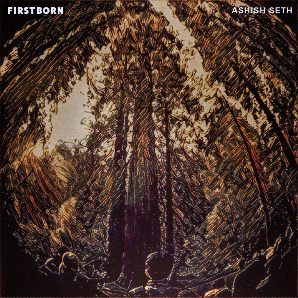 Album cover of Firstborn by Ashish Seth. Stylised art of people looking up at tall trees